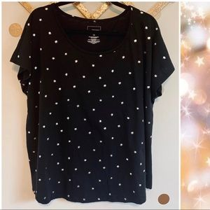 Sonoma Relax Fit Silver Star Black T-Shirt 1X